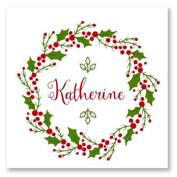 Photo of Artikel ähnlich wie Holiday Wreath Personalized Place Card für Weihnachten auf Etsy