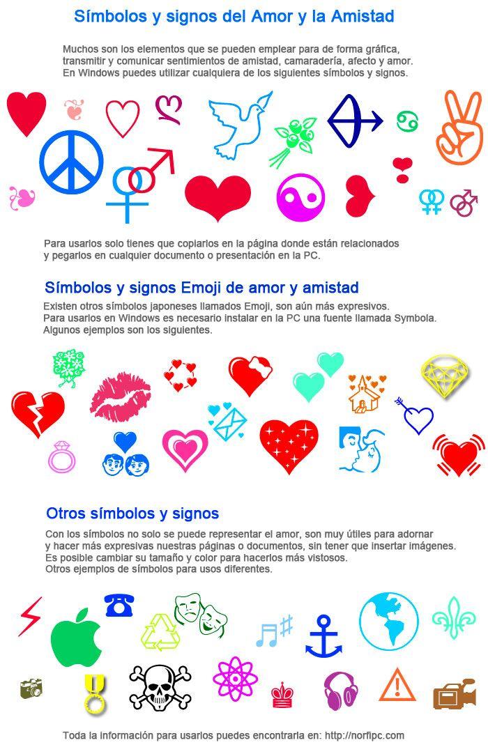 Simbolos Signos Y Caracteres Para Representar El Amor Y La Amistad Signos Simbolos Amor Amistad