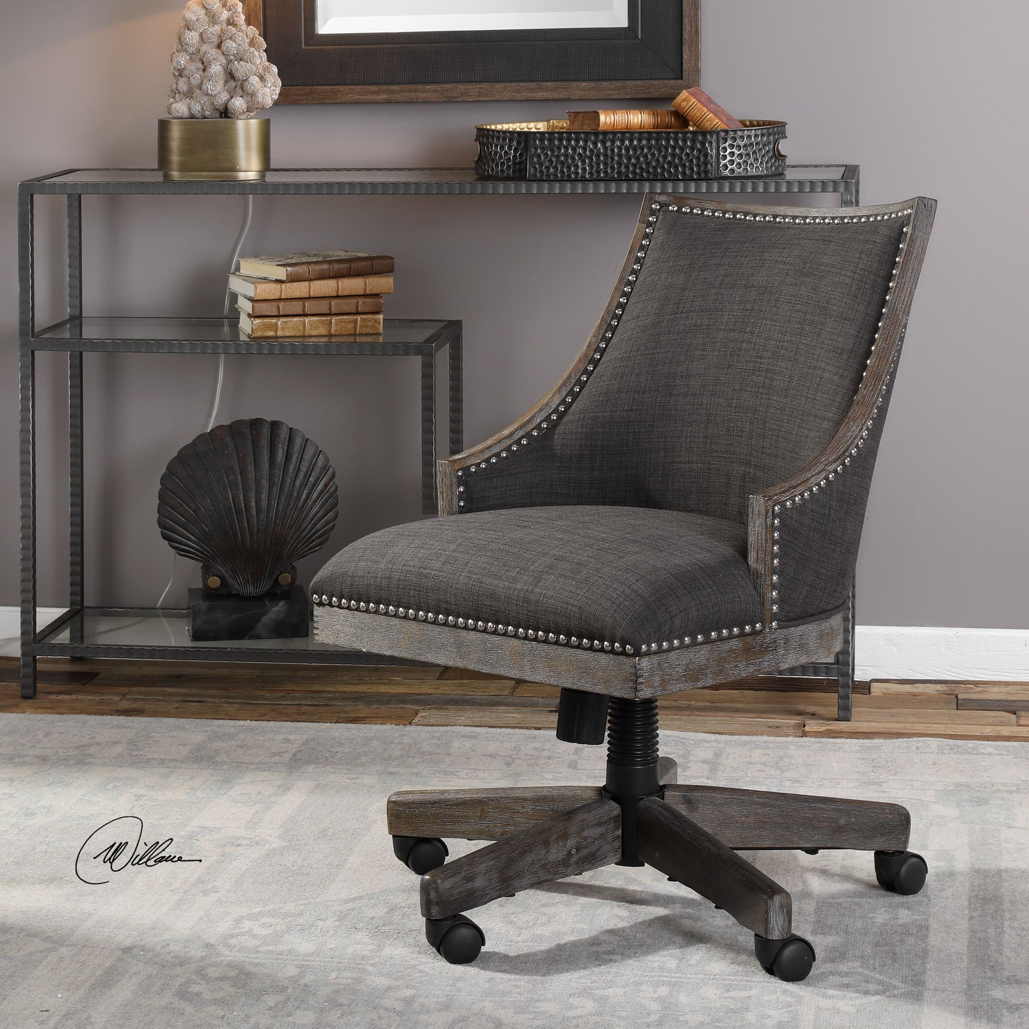 Prime Aidrian Charcoal Desk Chair Products Upholstered Desk Gmtry Best Dining Table And Chair Ideas Images Gmtryco