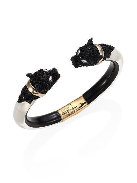Alexis Bittar Lucite Crystal Encrusted Panther Bangle Bracelet