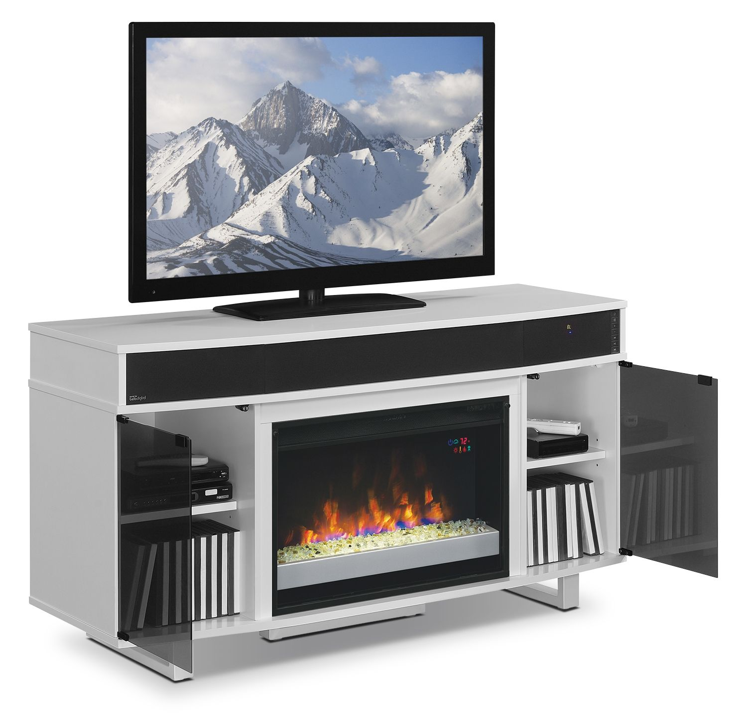 Odesos 72 Tv Stand With Glass Ember Firebox And Soundbar White Tempered Glass Door Tv Stand Fireplace Glass Doors Tv stand with fireplace and soundbar