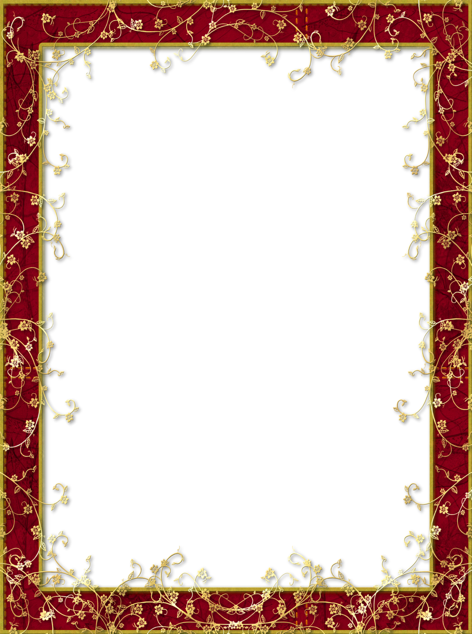 Red Transparent PNG Frame with Gold Flowers | Borders ...