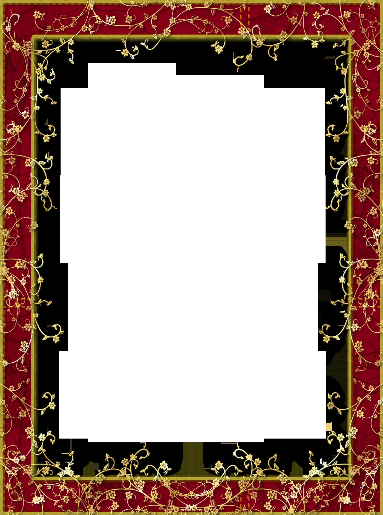 Red Transparent Png Frame With Gold Flowers Christmas Photo Frame Flower Frame Frame