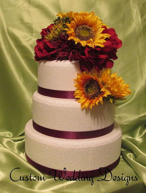 Real Touch Sunflower Cake topper. Made of by Customweddingdesigns, $115.00