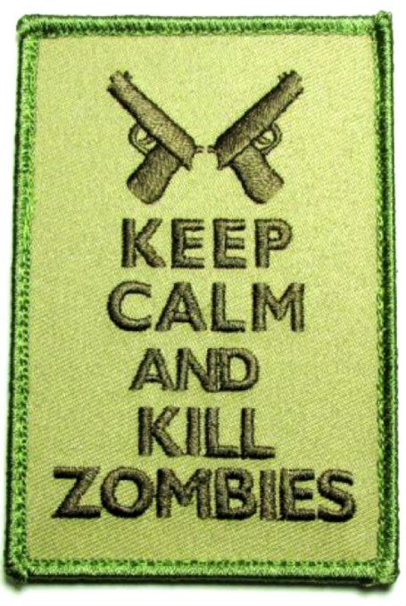 """[Single Count] Custom, Cool & Awesome {3.9"""" x 2.75"""" Inches} Rectangle Keep Calm And Kill Zombies Text Gun Arm Badge (Tactical Type) Velcro Patch """"Green & Brown"""""""