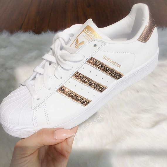 pretty nice 6b23f 94dce Adidas Original Superstar Made with SWAROVSKI® Xirius Rose Crystals -  White White