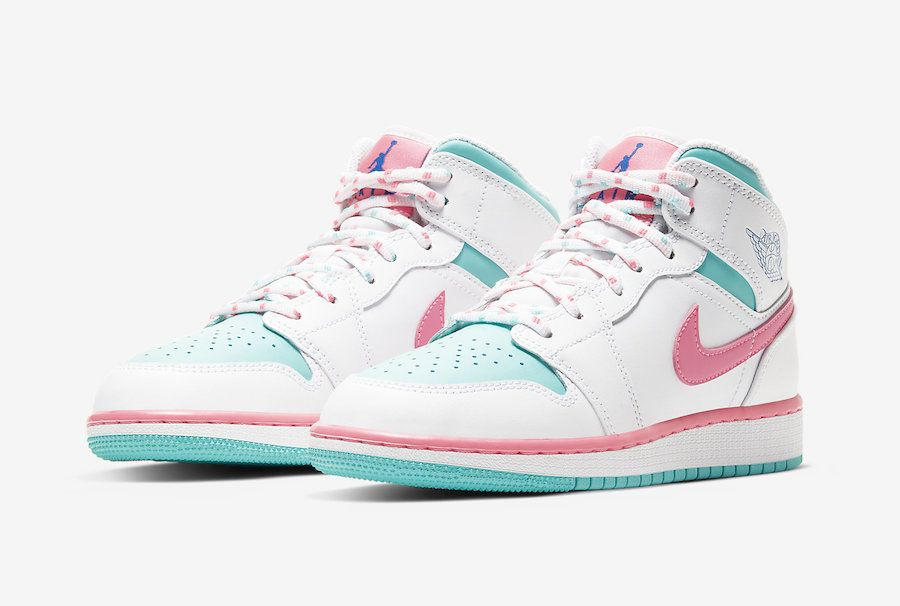 Air Jordan 1 Mid Gs Digital Pink Aurora Green 555112 102 Release