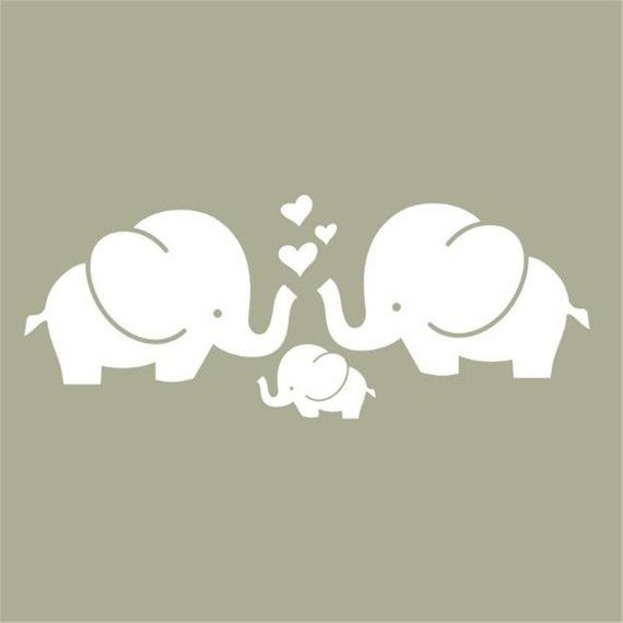 Cute Three Elephants Nursery Wall Decal, Kids or Children Room Wall Stickers Wall Decal, Peel and St
