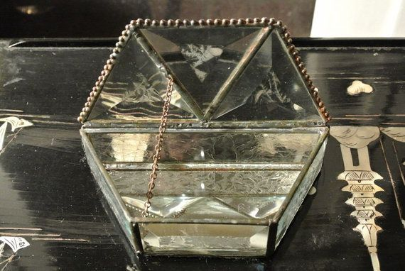 Bevelled frosted glass hand made jewelry box by wilshirerugs, $56.00