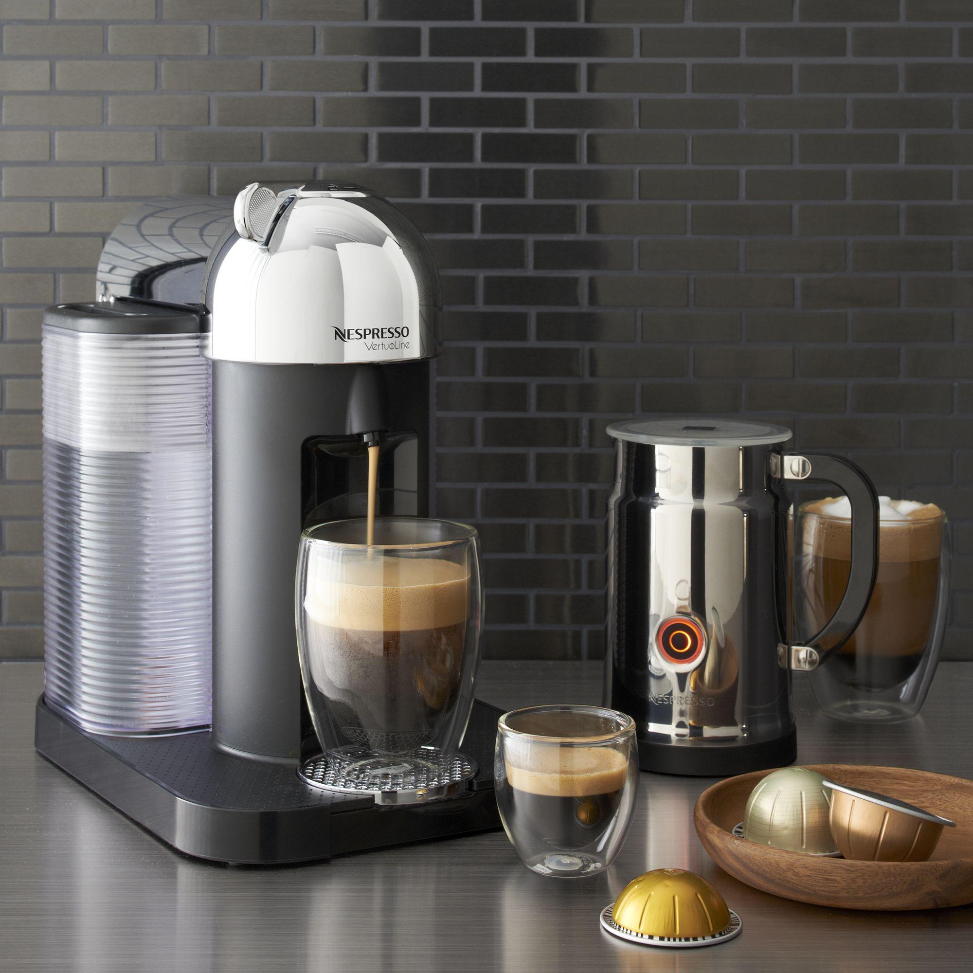 Nespresso By Breville Vertuoline Chrome Coffee Espresso Maker Bundle Reviews Crate And Barrel Nespresso Coffee Vertuoline