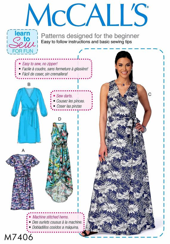 Learn to Sew a Wrap Dress Pattern Easy Beginner Sewing by blue510 ...