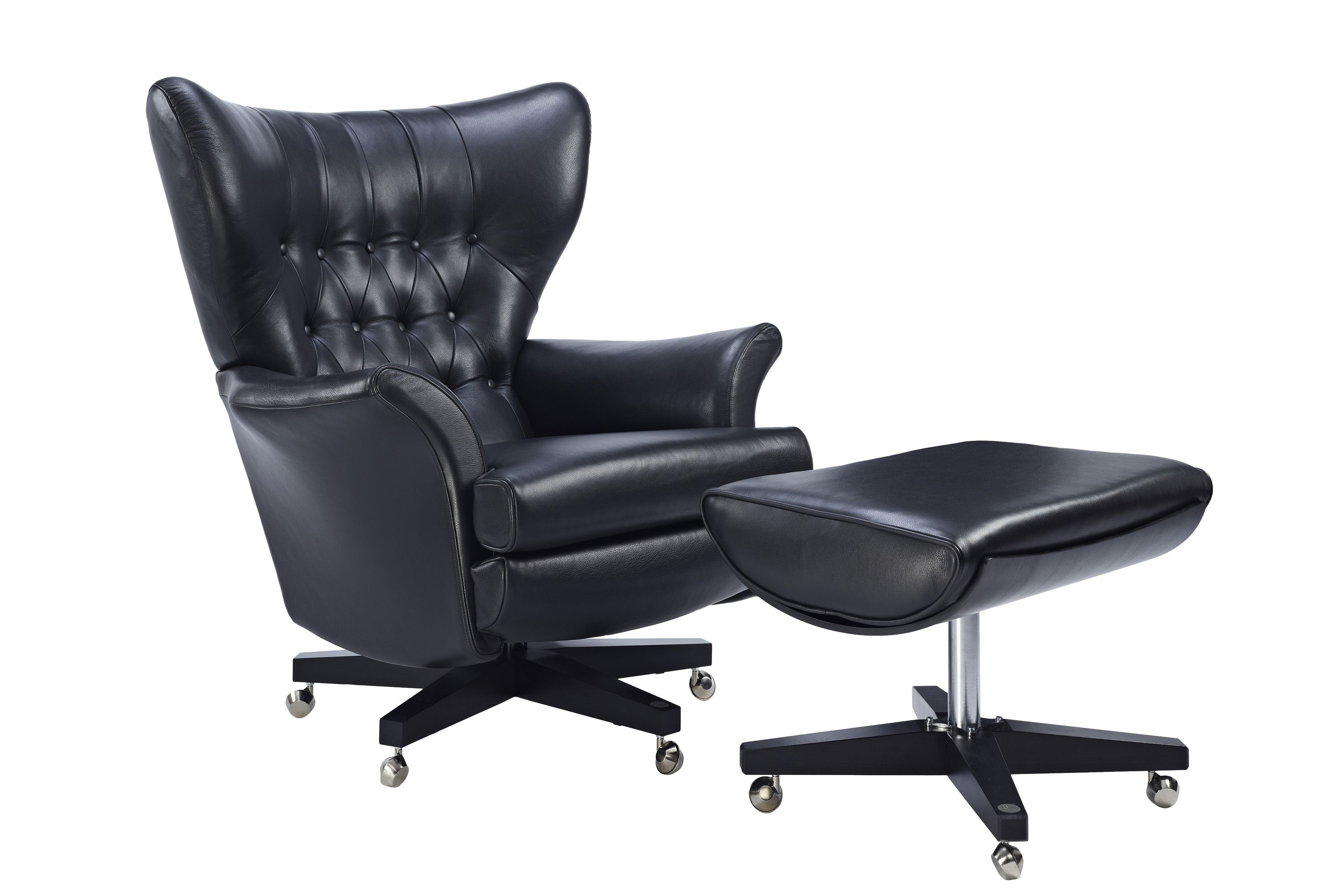 G Plan Vintage The Sixty Two Chair And Footstool In Capri Black