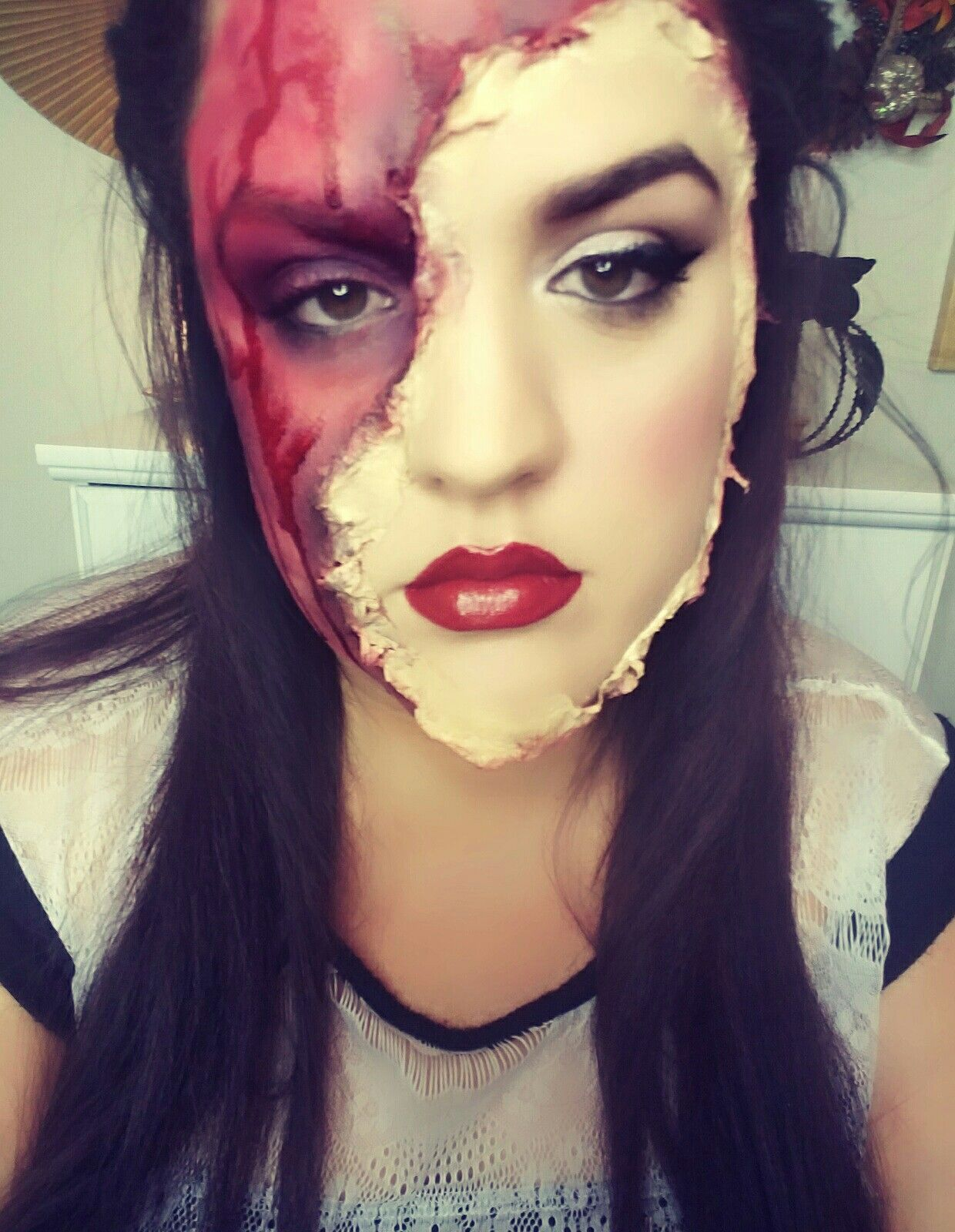 halloween, torn off face, makeup, beauty, look, ideas, easy ...