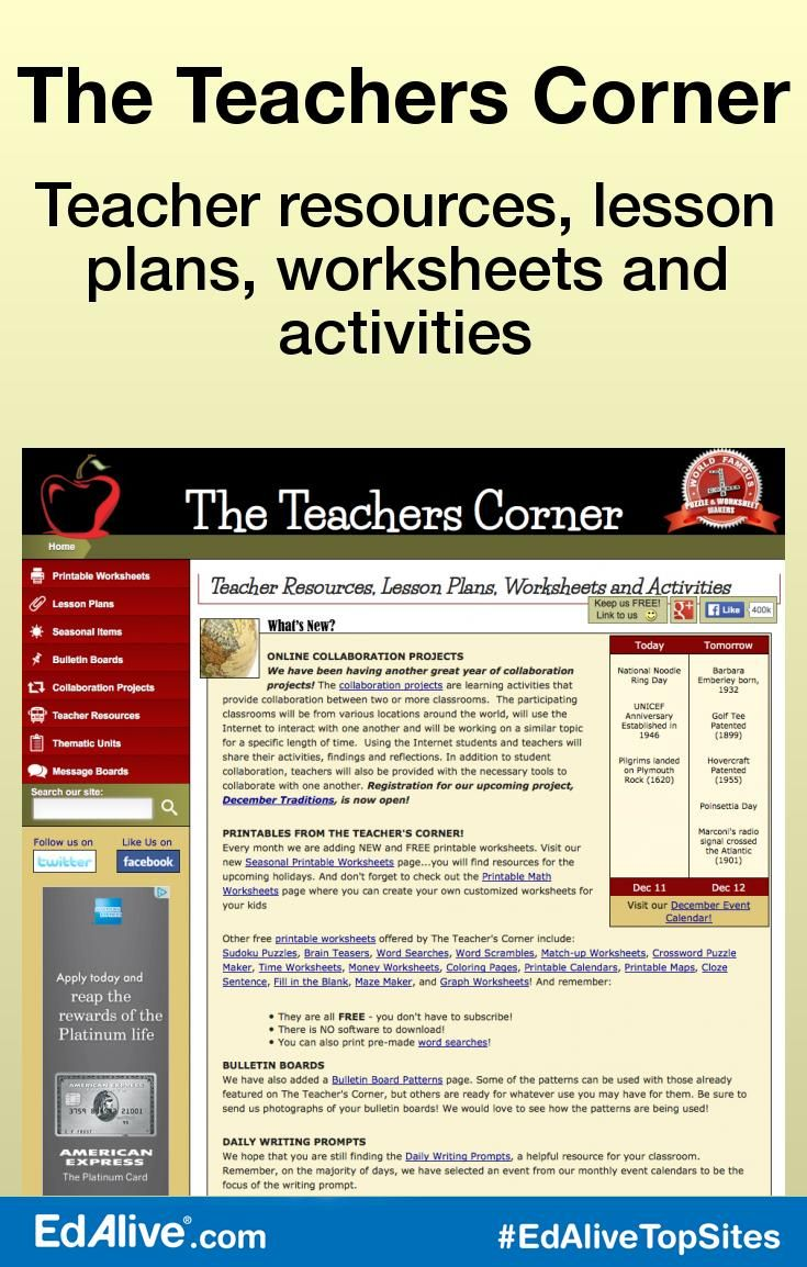 The Teachers Corner | Teaching Resources - EdAliveTopSites ...