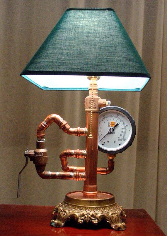 Steampunk Industrial Lamp Made Of Copper Pipe On A Brass Base With A  Vintage Gauge.