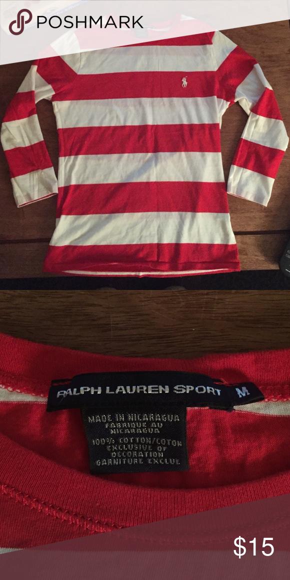 Ralph Lauren Sport - red and white striped shirt Red and white striped polo shirt - three-quarters sleeve.  100% cotton. ralph lauren sport Tops Tees - Long Sleeve