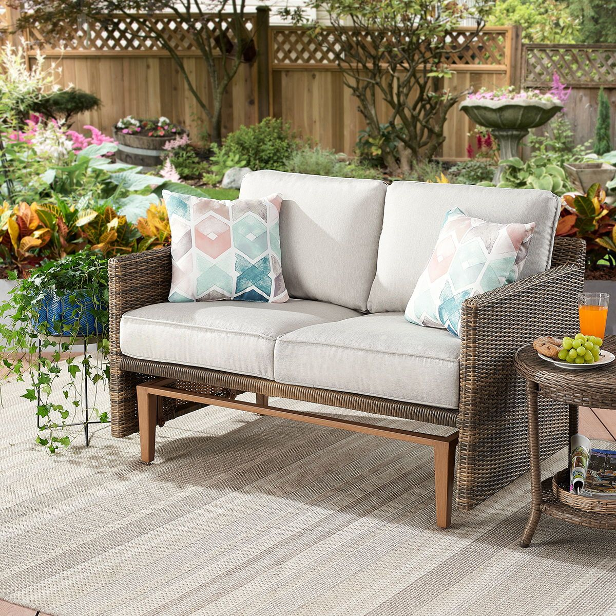 Better Homes Gardens Davenport Patio Wicker Glider Loveseat Walmart Com Love Seat Beige Cushions Better Homes Gardens