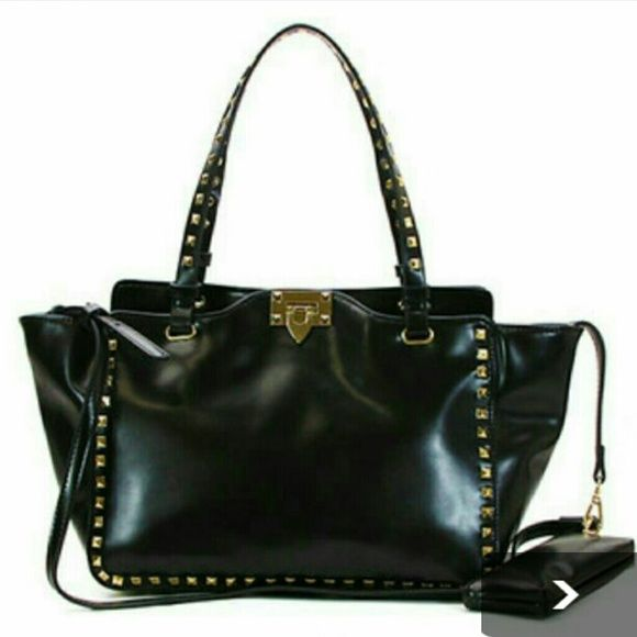Black bag Beautiful black bag with gold studs, a lot of room, like new I used it only once tried to change my style.. not working lol Bags