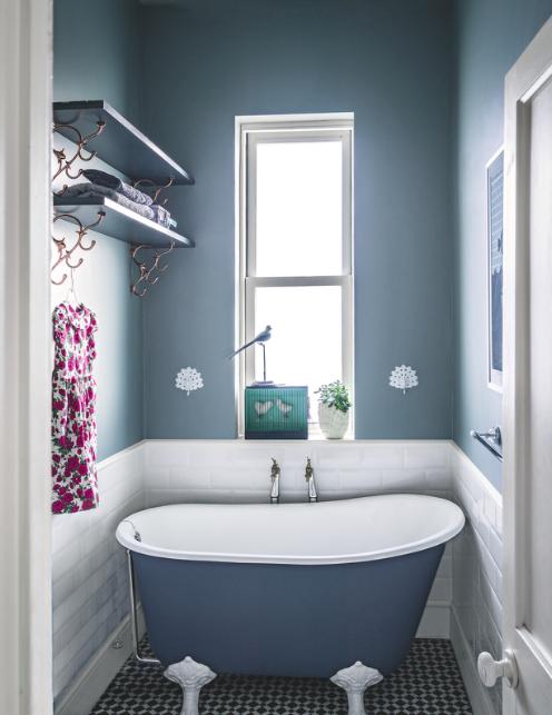 Bathroom Clever Design Compact Bath Metro Tiles Blue Decorative Flooring Victorian Bath Trendy Bathroom Tiles Victorian Bathroom Bathroom Design