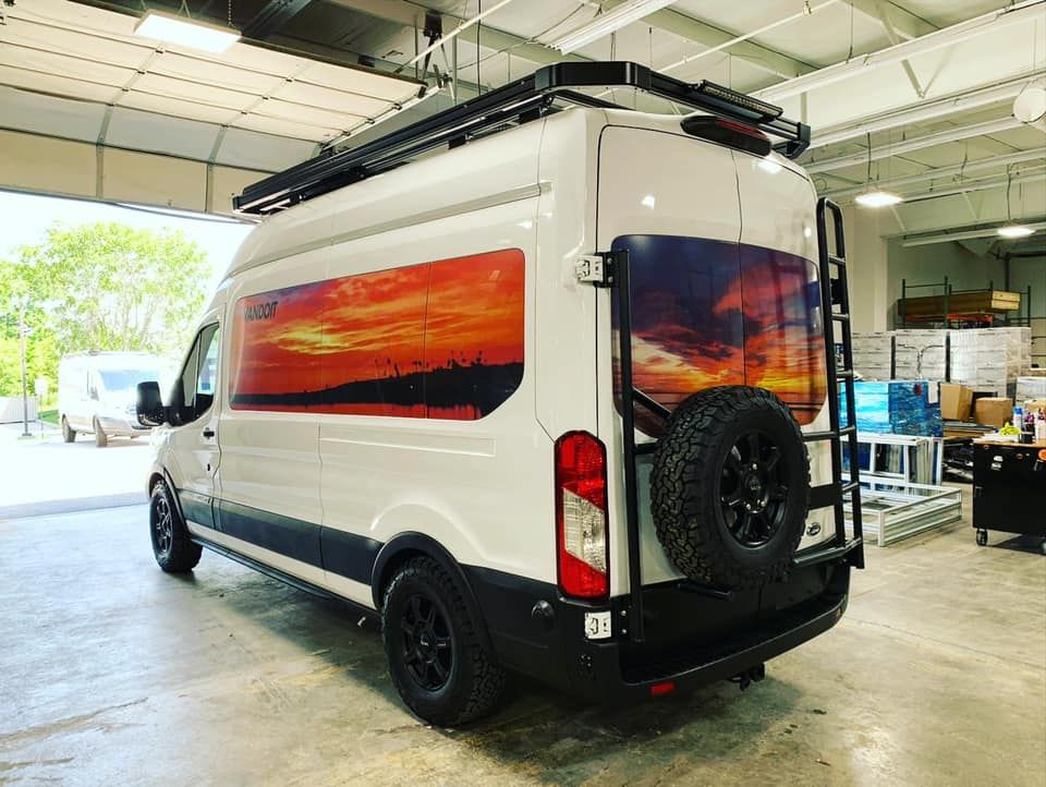 Aluminess Rear Door Ladder Rack On Vandoit Camper Van In 2020 Ford Transit Ford Transit Camper Camper Van