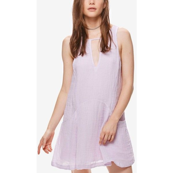 Free People Smooth Sailing Linen Mini Dress ($108) ❤ liked on Polyvore featuring dresses, pink, pink mini dress, pink linen dress, free people dresses, mini dress and short pink dress