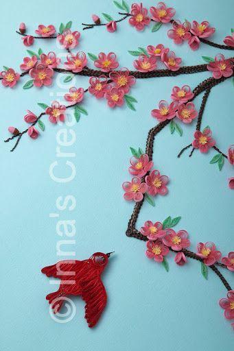 Inna S Creations Cherry Blossom Framed Paper Quilling Art Paper Quilling Quilling Designs Quilling Flowers