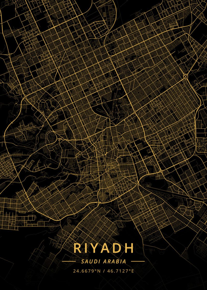Riyadh Saudi Arabia Poster Art Print By Designer Map Art Displate Map Art Riyadh Riyadh Saudi Arabia