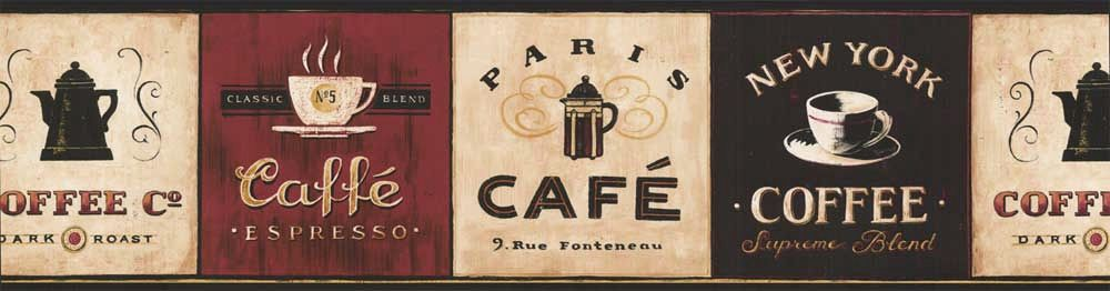 Perfect French Kitchen Cafe Wallpaper Border | Cafe Coffee Wallpaper Border EB8900B  Coffee Decor Espresso Cappuccino