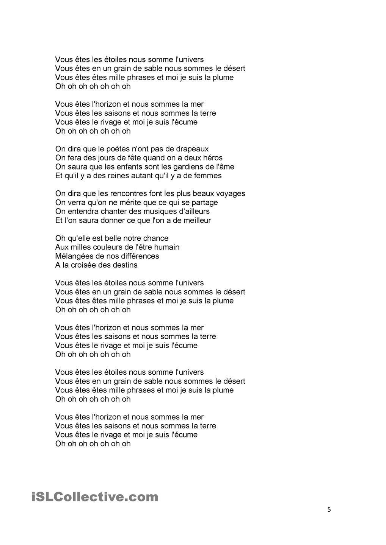 Chansons, Paroles De Chanson Et