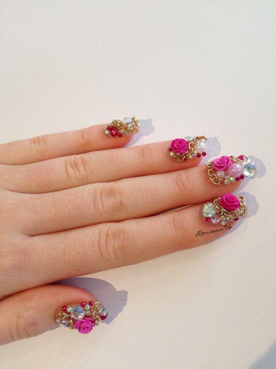 Japanese Nail Art Rhinestone & Rose Artificial Nails by Rowaan96 ...