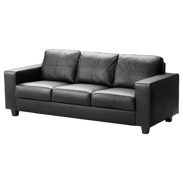 Skogaby 3 Zitsbank Glose Bomstad Zwart Ikea Ikea Leather Sofa Leather Sofa Bed Black Leather Sofa Bed