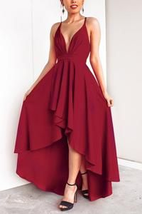 Photo of Sexy Elegant Pure Color Ärmelloses Maxikleid