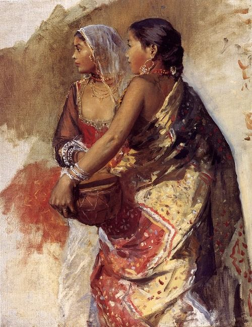Two Nautch Girls - Oil Painting by American Artist Edwin Lord Weeks