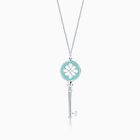 Tiffany keys knot key pendant in silver with enamel finish on a tiffany keys knot key pendant in silver with enamel finish on a chain aloadofball Choice Image