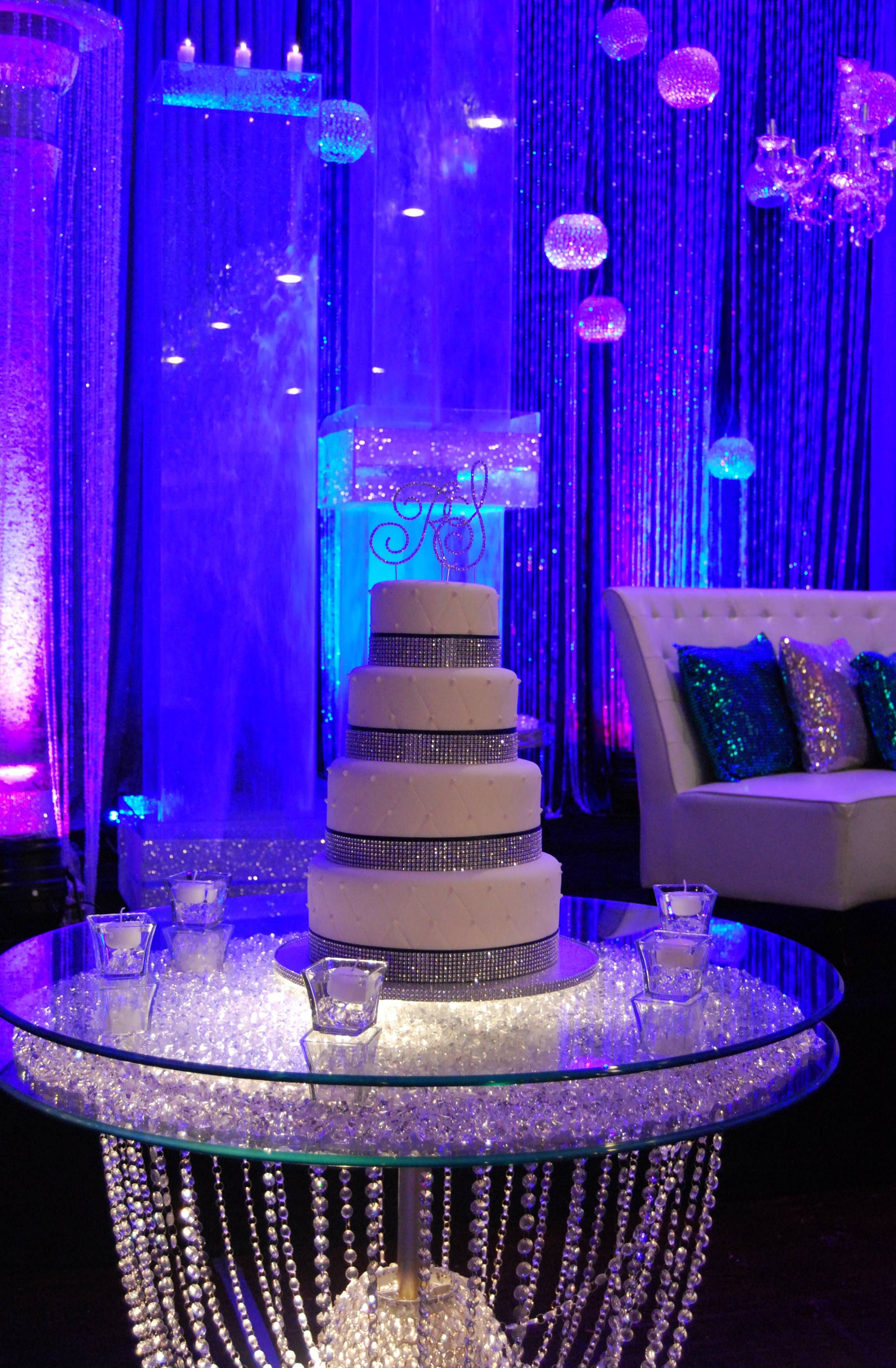 Bling wedding cake table and love the background wedding