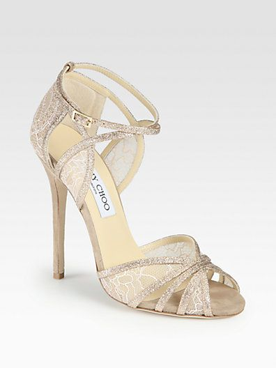 1178ab47a2c Jimmy Choo - Fitch Glitter   Lace Sandals    I can never comprehend having  the means and the will to spend  500 on a pair of shoes