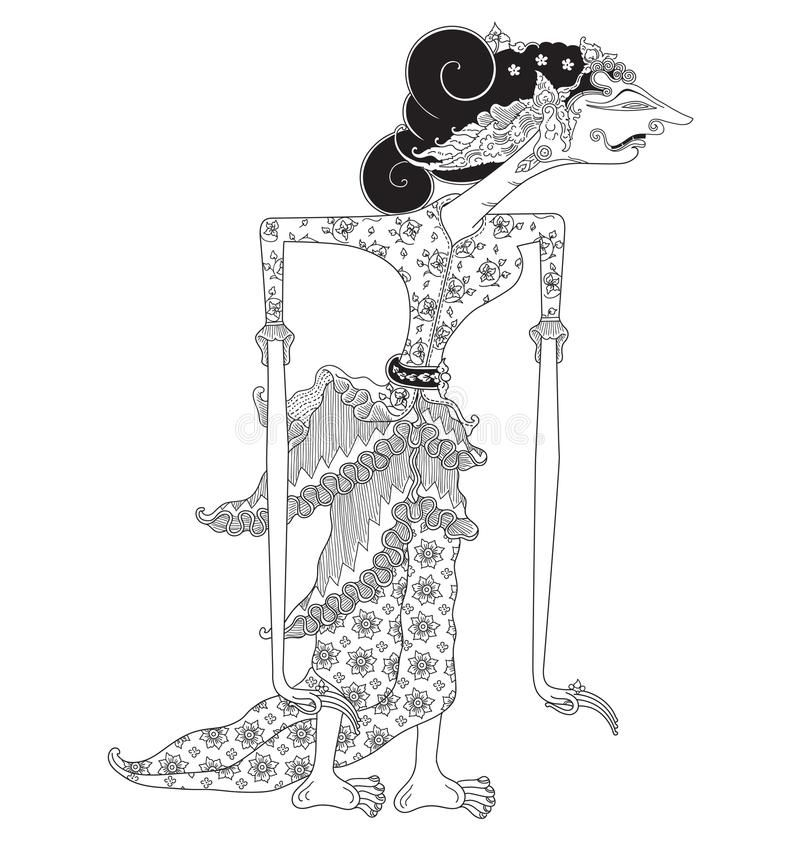 Sagupi A Character Of Traditional Puppet Show Wayang Kulit From Java Indonesia Royalty Free Illustration Vector Free Vector Images Shadow Puppets