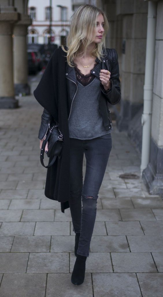 justthedesign:  Street Style 2015: Lisa RVD is wearing aleather jacket from Zara, knit deep V-neck top and grey jeans from Anine Bing lace body, shoes from Office London, bag from Chanel and the scarf is from Neyo