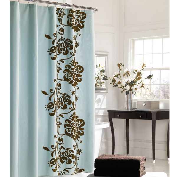 Reflections Floral Fabric Shower Curtain The foliage silhouette of ...