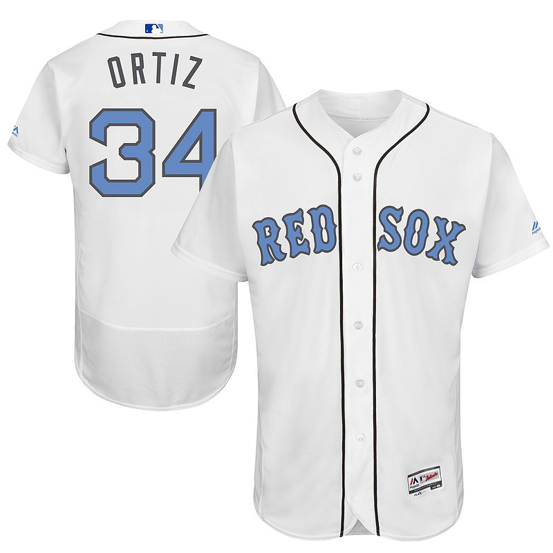 boston red sox 34 david ortiz majestic white fashion 2016 fathers day cool base jersey