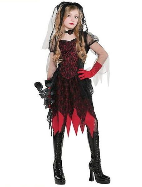 5386368f32 Gothic Evil Vampire Bride Black Red Wedding Child Costume Halloween 5 pcs  NEW  CostumesUSA