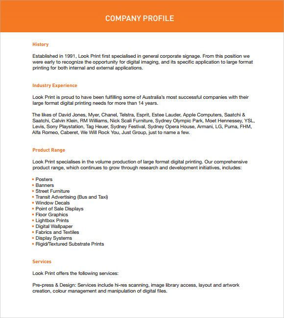 company profile sample pdf
