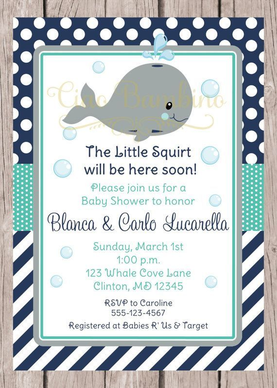Save This Pin   PRINTABLE Whale Baby Shower Invitation / Navy Blue, Gray  And Turquoise