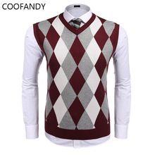 f212ecdfd2c34 Color Fit primavera Casual Plaid hombres Delgado contraste Casual suéter  otoño chaleco cuello en V trabajo