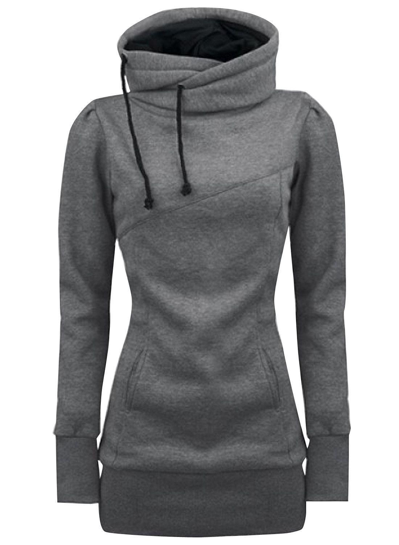 ca16de6342 Grey Drawstring High Neck Sweatshirt in 2019
