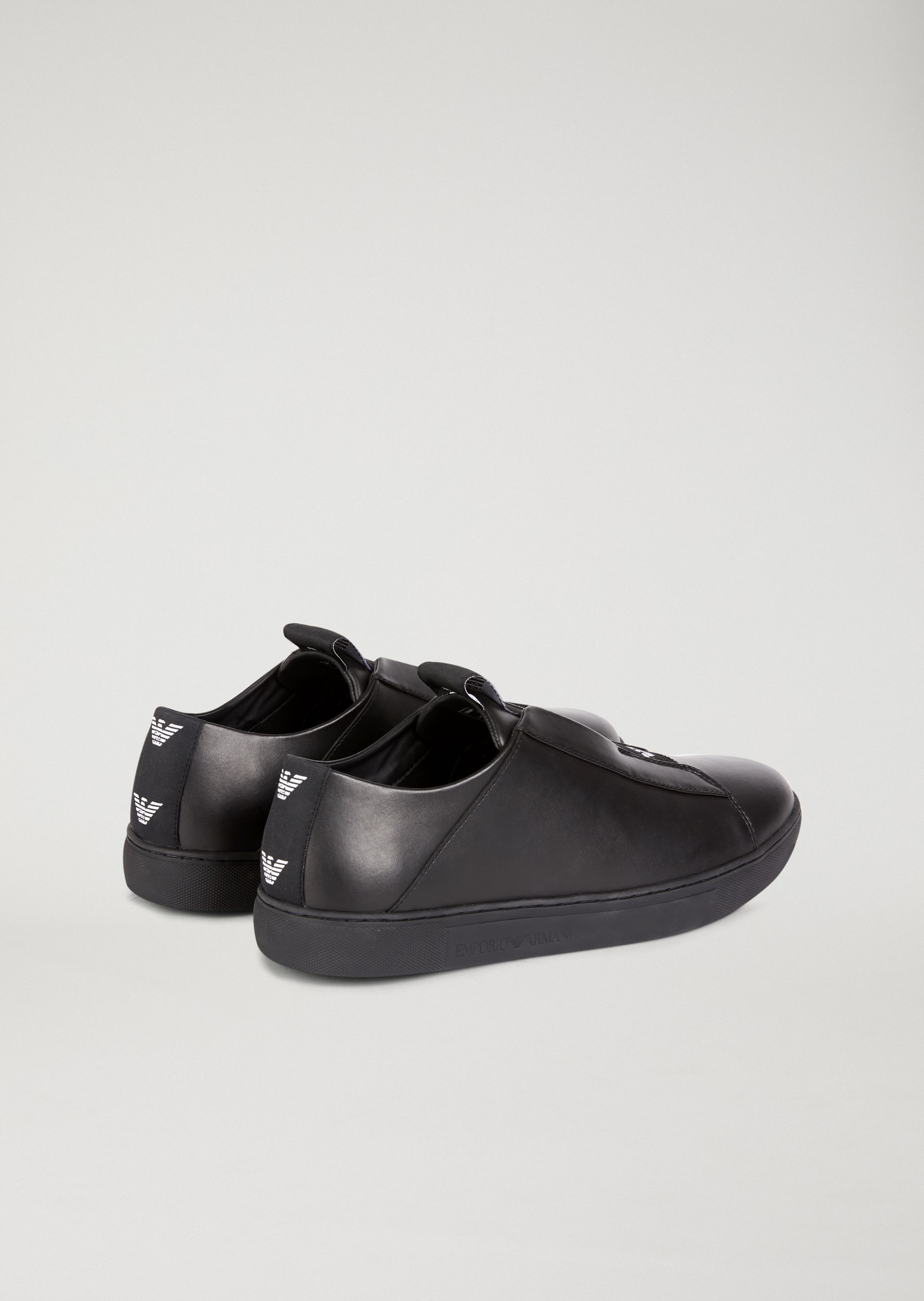 6c96cc7ab Emporio Armani Slip-On Sneakers In Nappa Leather With Contrasting Logo -  Midnight Blue 10.5