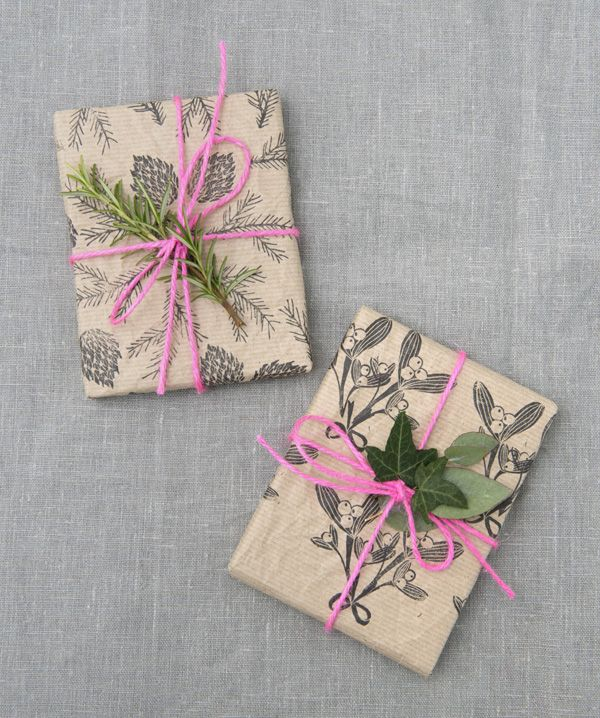 Brown paper wrapping / mistletoe stamp / Papermash
