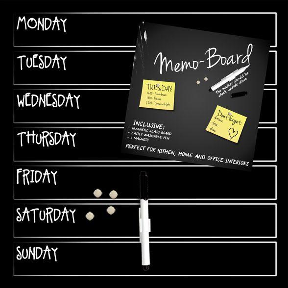 MEMO WEEK -taulu jossa kynä ja magneetteja. #sisustusidea #sisustaminen #sisustusinspiraatio #askohuonekalut #sisustusidea #sisustusideat