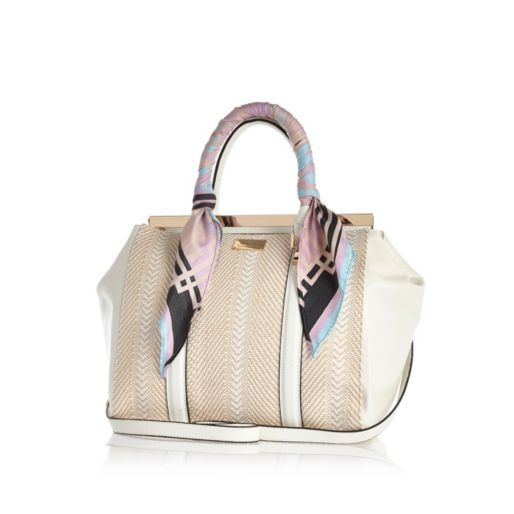 White scarf handle woven tote bag - shopper / tote bags - bags / purses - women