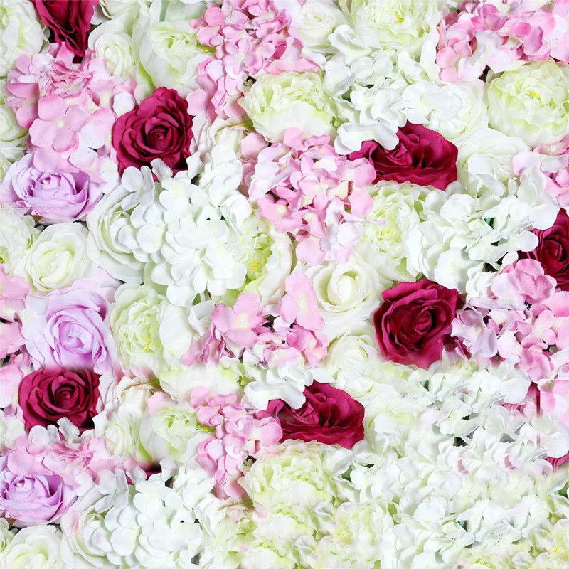 Spr 2018 Wedding Pink White Hydrangea Rose Artificial Flower Wall Pieces Decorative Floral For Party Event Flower Wall Backdrop Flower Wall Artificial Flowers